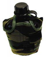 США пластиковая фляга 1 литр, с нейлоновым чехлом woodland